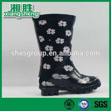 2015 New York black high-heeled printing design girls rain boots with heel loop