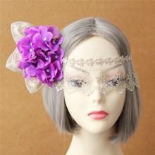 MYLOVE Purple flower mask statement white lace mask women accessory MLMJ24