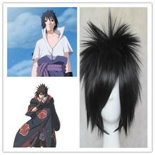 Japanese anime Naruto Uchiha Sasuke short black cosplay wig synthetic wig for man