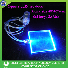 Battery Controlled Square Shape Party LED Necklace, Customized Party LED Necklace With Logo Printed For Gifts