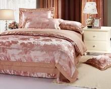 latest design satin fabric for bed sheet jacquard satin duvet cover luxury silk satin bedding set