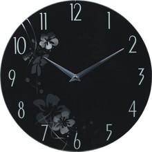 """113"""" di vetro orologio da parete stile di vita in bianco e nero fiore foto su vetro"""