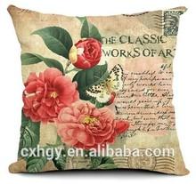 Flower Rose pillowcase home decorative cotton linen throw pillow/cushion cover for sofa/chair/car/home decor