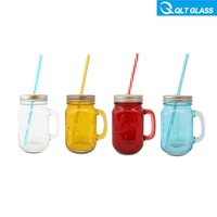 Clear and colored 20 oz glass mason jar with handle