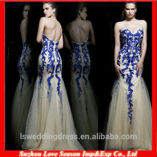 profissional fornecedor de azul royal elegante vestido de noite com alta qualidade