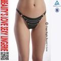 Rebite cadeia eróticos g- string calcinhas sexy back t crotchless tanga de couro para as mulheres