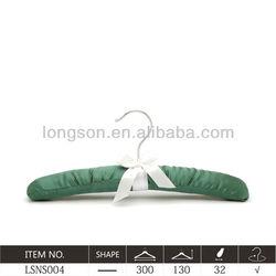 China supplier coat hanger satin material dark green LSNS004