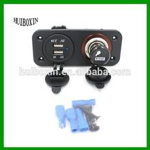 12-24V Motorcycle Dual USB Port Charger Socket + Cigarette Lighter for Phone/PC