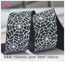Ruibeis halloween printed grosgrain black ribbon with spider web