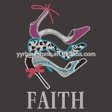High quality rhinestone faith with high heel rhinestone iron on transfer