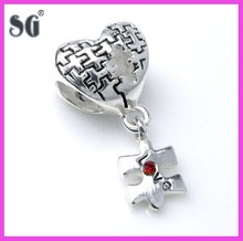 High quality fashion heart&puzzle pattern charm beads jewelry from china supplier