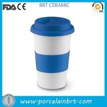 Hot sale Porcelain Coffe Mug with Lid , printable silicone band