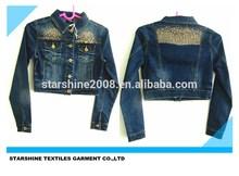 ironing studs denim jean lady jacket(L078)