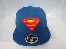 Factory price Fashion 3D embroidery custom super man snapback/ flat caps
