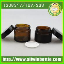 Amber Color Screw Seal Lid Empty glass Cosmetic jar 16oz