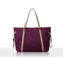 2015 High Quality Womens Handbag Fashion Nylon Tote bag With PU Leather Handle And Outside Pockets From Reshine HF825