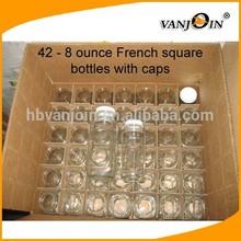 42pcs Plastic Mini Milk Bottles Square French Style