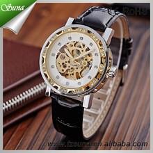 Alibaba China New Design Fashion Men Skeleton Automatic Diamond Watch for Men