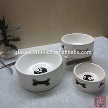 lovely bone pattern ceramic dog food bowl