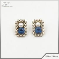 alibaba China wholesale jewellery elegant ladies blue crystal pearl earrings