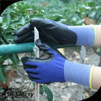 SRSAFETY Supper Flexible Navy Nylon PU Glove/smart touch gloves/e touch gloves
