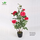 fabric artificial flower,artificial rose tree with pot