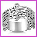 925 de plata esterlina de la nota musical con anillos de la nota musical