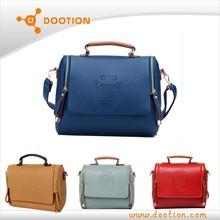 popular crown small women vintage leather messenger bag
