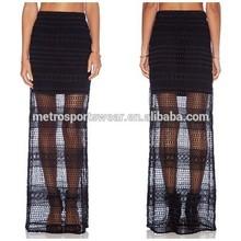 2015 hot selling black lace skirt lady crochet skirt