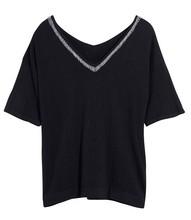 2015 black embellished V neck summer knit women sweater