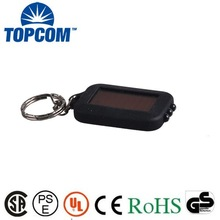 390nm Mini ABS UV LED Flashlight KeyChain with solar panel/ 3 LED Solar UV flashlight key chain