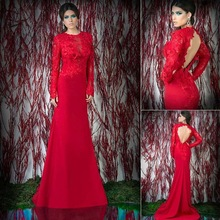 New Arrival Long Sexy Backless Mermaid Evening Dresses With Sleeves Elegant Appliques Chiffon Evening Dresses Prom Gown 2014