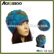 Lady fashion mixed color hand made beanie, acrylic custom designed dobby knit hat