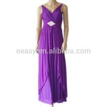 مساء اللباسأزياء قطيفة الظهر نمط جديد من الشيفون الجبهة مثير قصيرة فستان ماكسي