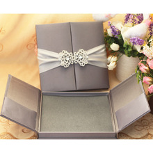Delivery on time wedding invitation card with ribbon and buckle