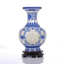 Handcraft thin china bule and white porcelain piercing vase for home ornaments