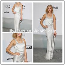 Ladies Siliver Satin Sleeveless Designs Floor Length Custom Make Evening Party Dresses RD010 celebrity dress china