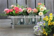 Decorative simulation flower metal tin pot set with holder