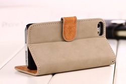 hot selling Fashion christmas Wallet Style Flip Stand Matte Leather Case for iPhone 5