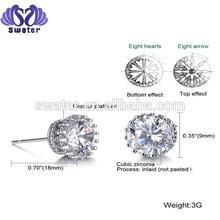 SW-ED001 Fashion jewelry custom high quality zircon earrings Alloy or Stainless steel stud earrings