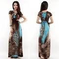 Las mujeres señora sexy leopardo boho playa de cuello v profundo maxi completo- longitud vestido de verano largo sv000579 #