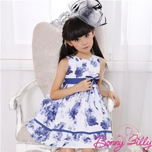 2014 Latest Blue and white porcelain Patern Children Clothing,China supplier Dresses of party for girls of 12 years