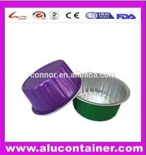 Disposable Colored Round Aluminium Foil Container for Food Cake Pudding Yogurt
