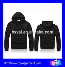 Wholesale bulk high quality mens style long sleeve pullover plain black hoodie