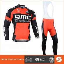 brushed fleece pro team men custom design sublimation print long sleeve cycling jersey & pant