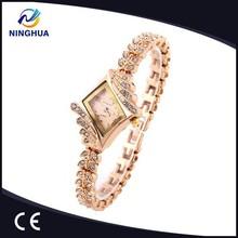 New Fashion Women Rhinestone Watch Analog Leaf Buds Strap Wristwatch Ladies Quartz Watches King Girl Promotions
