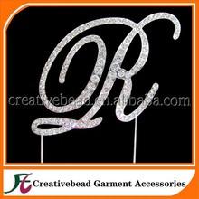 2014 fashion silver crystal rhinestone cake topper wedding cake accessories