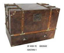 Antique leather trunk box with drawers