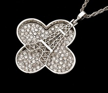 Fashion crystal diamond clover and Eiffel Tower pendant necklace for lady