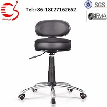 black color leather chair lab stool with wheels